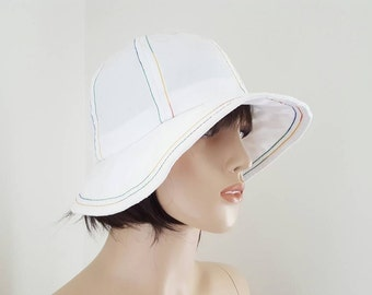 Vintage White Cotton Golf/Sun Hat