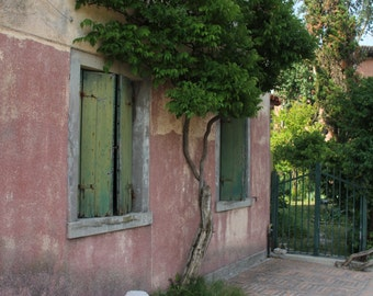 Venice Photograph, Travel Photography, Italy Picture, Courtyard, Small Architectural Scene in Torcello, Island near Venice