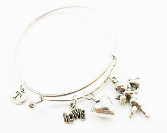 Cupid Charm Bangle, Cupid Charm Bracelet, Valentine's Day Bracelet, Personalized, Initial Jewelry, Wire Bangle, Cupid Bangle