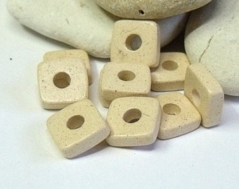 Greek Mykonos, Ceramic Square Washer Beads, Bone.