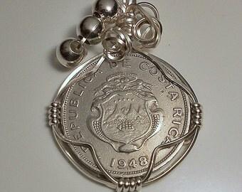 Costa Rica Vintage Coin Pendant 1948