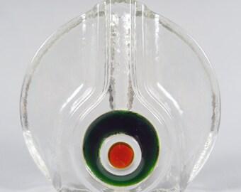 Walther Design, Art glass bud vase, Op art, bohemian art glass