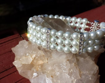 Pearl Triple Strand Bracelet With Crystal Spacers Faux White Pearl Fashion Bracelet In Silver Plate FREE SHIPPING