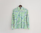 Vintage 1970s nylon blouse, 70s disco blouse, polka dot blouse, geometric print, abstract long sleeve top, 70s womens shirt button up blouse