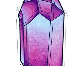 Amethyst Crystal Art Print February Birthstone - Gift - Art - New Year