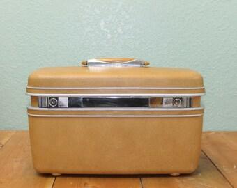 Samsonite Silhoutte Train Case, Vintage Train Case, Carmel Brown make up case