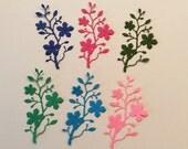 """Handmade, 6 Blushing Flower Branches, Pink, Dark Pink, Blue, Dark Blue, Green, Dark Green, Cardstock, 3 1/2"""" tall, 1 3/4"""" wide"""