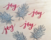 4 Christmas Joy's and Pine Branches, Green, Red, Handmade, Sizzix, Die Cuts, Cardstock, Cards, Scrapbooking