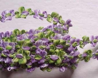 French Rococo Ombre Ribbon, 7/16 inchWhite - Purple - Green selling by the yard