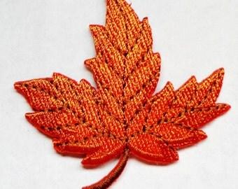 embroidered iron on applique-LEAF ORANGE