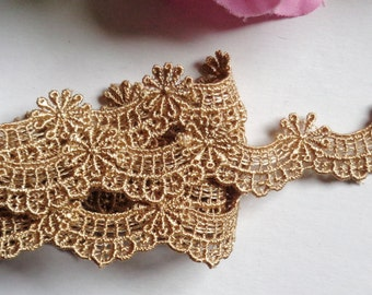 1/2 inch wide old Gold ~Scallop Venise Lace Trim 29 inch cut