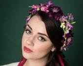 Floral Crown Headband Purple Meadow Wedding Bridal Bridesmaid Festival