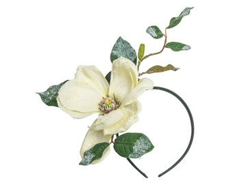 Christmas Floral Headband in Ivory White with Frost