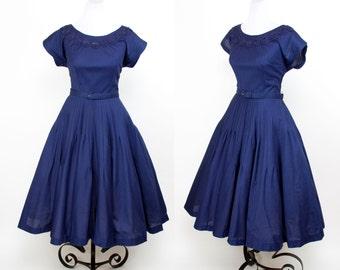 1950s Dress // Navy Blue Cotton Full Skirt Embroidered Neckline Dress by Gracette
