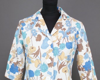 1960s Jacket // Blue Botanical Floral Cropped Cotton Jacket