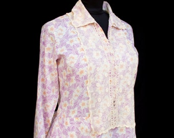 1930's Dress // Lilac Floral Print Lace Collar Plus Size Cotton Dress