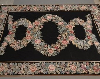 Sold Vintage French Aubusson Needlepoint Rug Rings Of Roses On Black 9x12