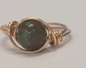 Labradorite Ring in Bronze