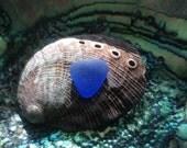 Flawless Blue HEART Pendant Genuine Sea Glass CFH-F7-1