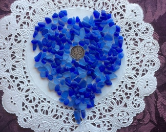 FREE SHIPPING 200 Rough  Blue Mosaic Sea Glass RCC-S25-205-A