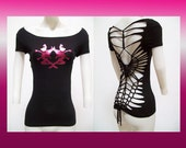 SALE!!! SMALL - Juniors / Womens Black Weaved and Cut Top with twin Foil Fairy Size Small Shredded T