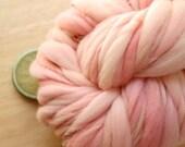 Pink Roses - Handspun Wool Yarn Merino Thick and Thin Skein