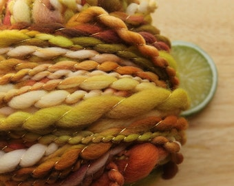 Apple Harvest - Fat Wool Art Yarn Handspun Green Red Thread Plied