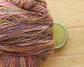Garden Party - Handspun Wool Bamboo Silk Yarn Pink Peach Lavender