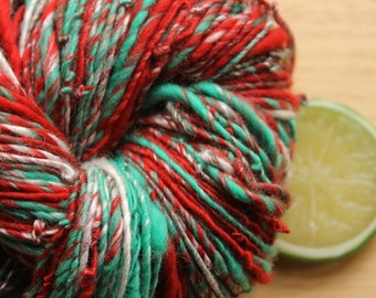 Ugly Sweater - Handspun Wool Yarn Worsted Weight Red Green Skein