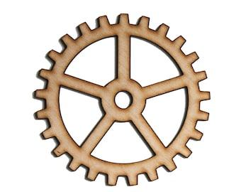 Plywood SteamPunk Gears, Craft Gears, Wood Gears, Laser Cut - 1qty - 4 Inch (10.16cm) - BASIC Design-