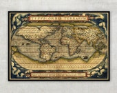 """Old World Map - Ancient maps - Historical map - by Abraham Ortelius (1564) -  Large World map up to 30"""" - World map poster, 014"""