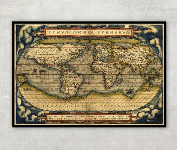 "Old World Map - Ancient maps - Historical map - by Abraham Ortelius (1564) -  Large World map up to 30"" - World map poster, 014"