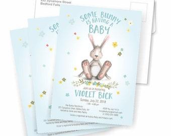 Bunny Baby Shower Invite, Bunny Baby Shower Invitation, Baby Boy, Baby Girl or Gender Neutral, WE or YOU Print, 5X7, Printable, Flower