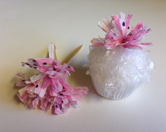 Cupcake Toppers Pink White Polka Dot Wedding Cupcake Toppers Birthday Appetizer Horderves Food Picks Crepe Paper Fringe Toppers