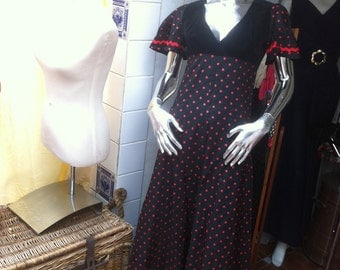 Gorgeous 1970s Black and Red  Polka Dot Maxi Dress from DollyRockers Designed by Sambo