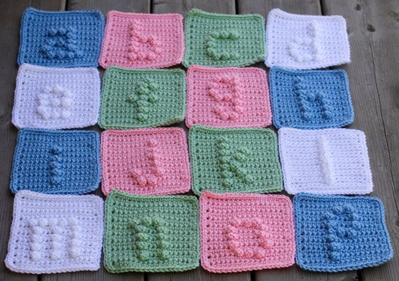 Crocheting Letters Into Blankets : ... alphabet letters a-z Crochet Pattern - Crochet Baby Blanket Pattern