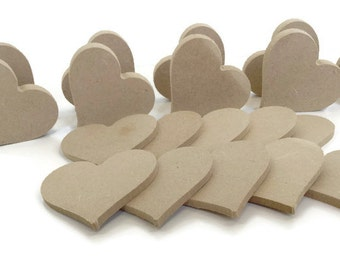 MDF Wooden Heart Shapes 6mm or 15mm Thick