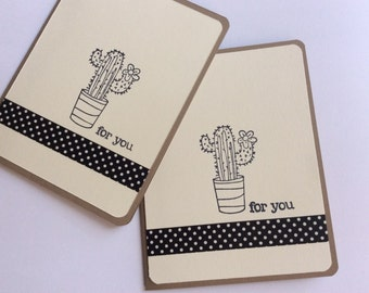 Cactus Handmade Card, Succulent Card, Kraft Cardstock Card, All Occasion Card, Blank Handmade Card, For You Card, Card Set 2 pc