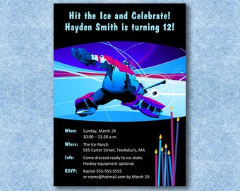 INSTANT DOWNLOAD Hockey Birthday Invitation—Printable, Customizable MicroSoft Word Template—and Thank You Cards—PDF