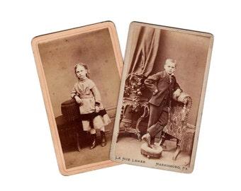 2 Charming Children Carte de Visite photo cards from Harrisburg, PA, by LeRue Lemer 1868-1872