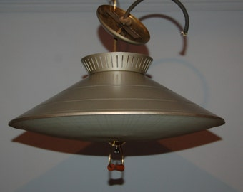 Vintage retro Mid-Century flying saucer kitchen eating or dining room fixture with slump shade