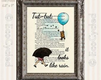 Winnie the Pooh & Christopher Robin Tut-Tut It Looks Like Rain Vintage Upcycled Dictionary Art Print Book Art Print Nursery book lover art