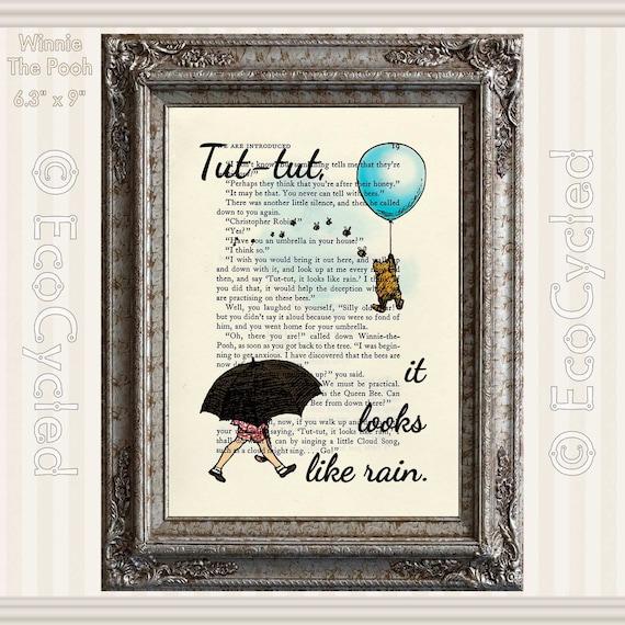 Winnie The Pooh Rain: Winnie The Pooh & Christopher Robin Tut-Tut It Looks Like Rain