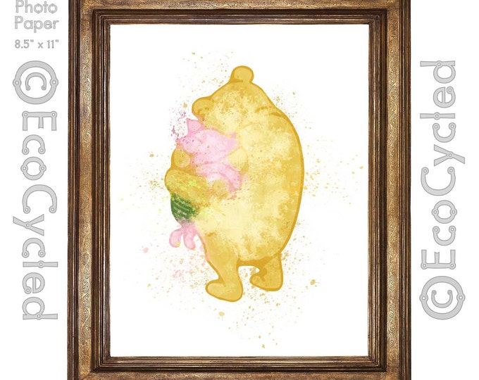 Winnie the Pooh and Piglet Friends Forever Hugging Watercolor Print Giclee Art Print Archival Print Wall Art Print Wall Decor