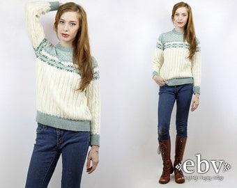 Snowflake Sweater Vintage 70s Cream Snowflake Jumper XS S Ski Sweater Hipster Sweater Cream Sweater Cream Jumper 70s Sweater Green Sweater