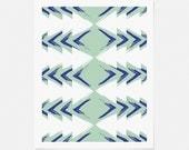 Mid Century Modern Art - Geometric Wall Art - Mint and Blue Art Print - Vertical or Horizontal Artwork - 5x7, 8x10, 11x14 - Home Decor