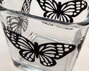 square glass vase or candle holder, container - butterfly design