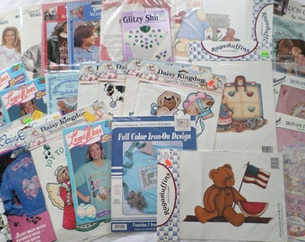 Large Lot Vintage Iron On Fabric Transfers Books Appliques Daisy Kingdom DIY 4th of July Christmas Baby Easter Quilting Flowers