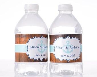 Nautical Wedding Decor - 30 Wedding Water Bottle Labels - Wedding Water Labels - Custom Water Bottle Labels - Waterproof Water Bottle Labels