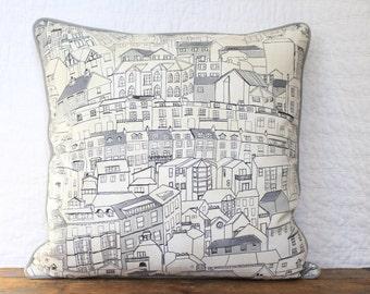 City street scene pillow cover